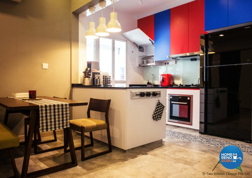 Country, Industrial, Retro Design - Kitchen - HDB 4 Room - Design by B-Two Interior Design Pte Ltd
