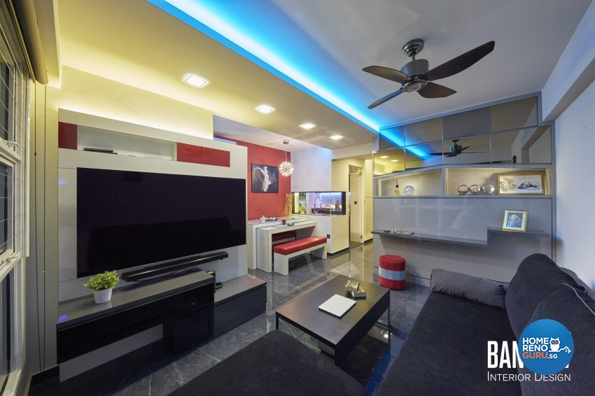 Modern, Retro, Resort Design - Living Room - HDB 3 Room - Design by Ban Yew Interior Design Pte Ltd