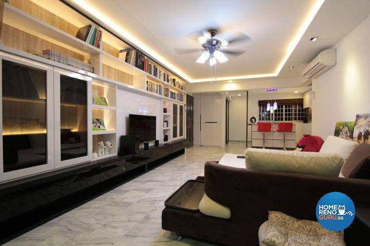 Contemporary, Modern Design - Living Room - HDB 5 Room - Design by Beaux Monde Pte Ltd