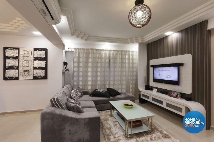 Minimalist, Scandinavian Design - Living Room - HDB 5 Room - Design by Brilliant D Concept Pte Ltd