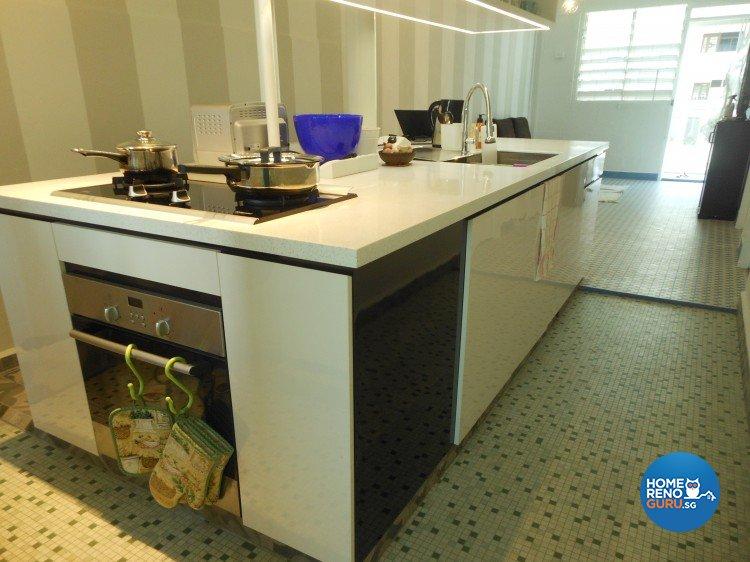 Minimalist, Retro Design - Kitchen - HDB 3 Room - Design by BuiltSpacez Design Pte Ltd