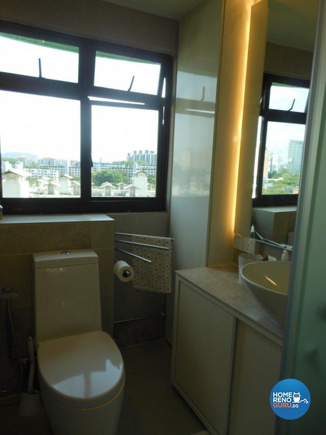Minimalist, Retro Design - Bathroom - HDB 3 Room - Design by BuiltSpacez Design Pte Ltd