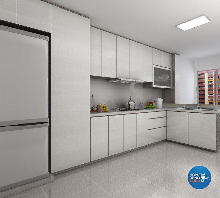 Contemporary, Modern Design - Kitchen - HDB 3 Room - Design by BuiltSpacez Design Pte Ltd