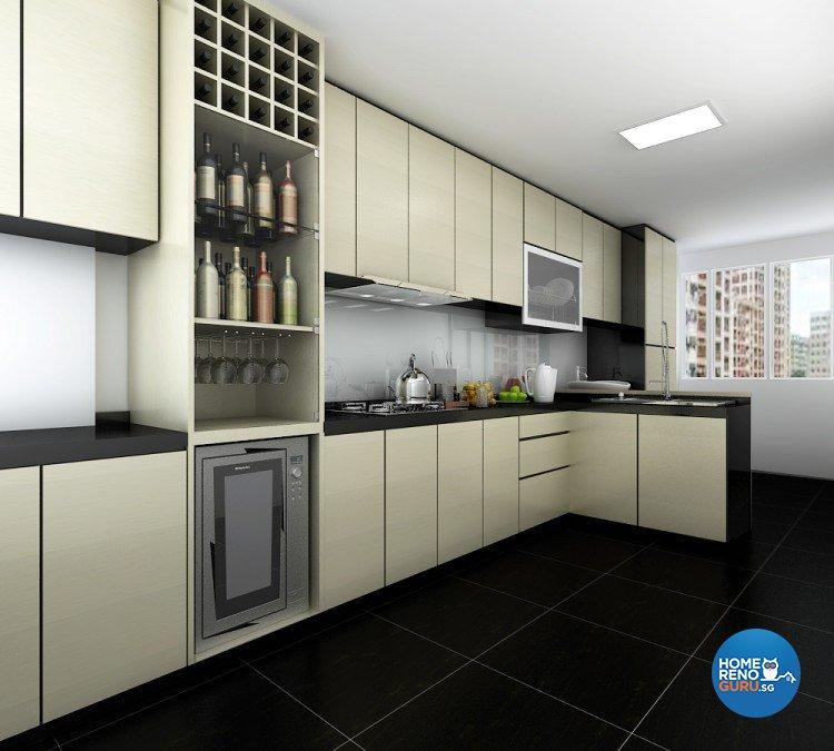 Contemporary, Modern Design - Kitchen - HDB 4 Room - Design by BuiltSpacez Design Pte Ltd