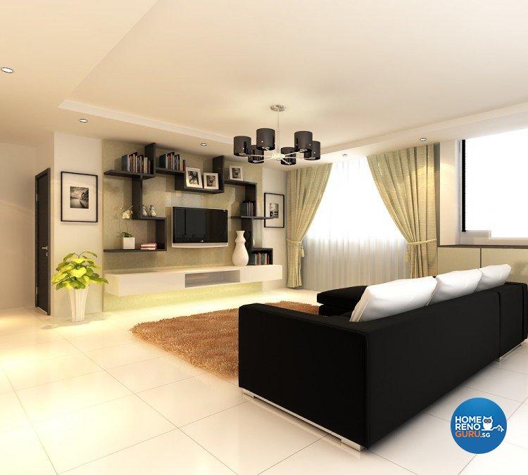 Contemporary, Modern Design - Living Room - HDB 4 Room - Design by BuiltSpacez Design Pte Ltd