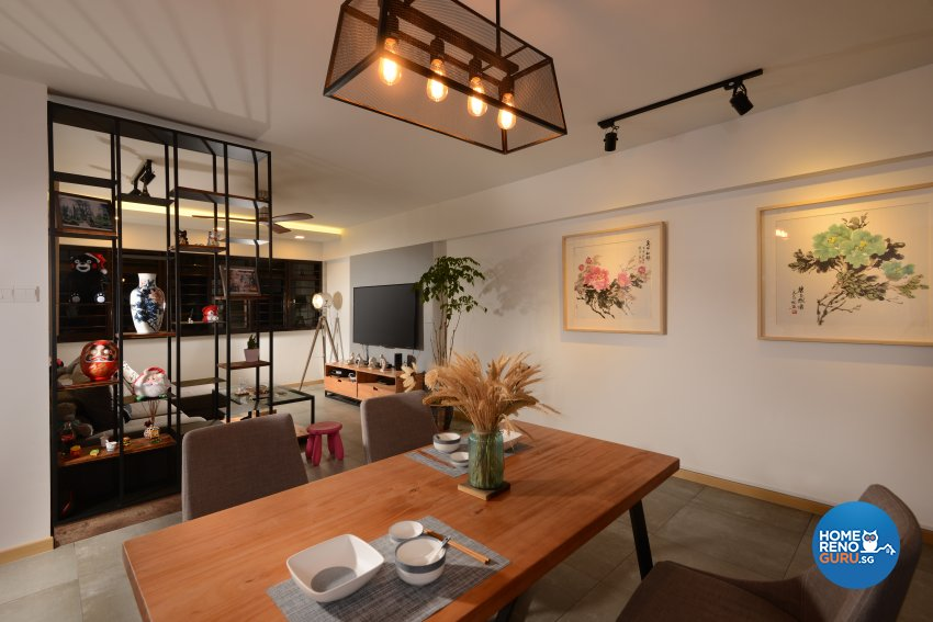 Industrial Design - Dining Room - HDB 4 Room - Design by Cad Associates ID Pte Ltd