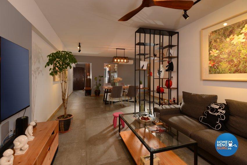 Industrial Design - Living Room - HDB 4 Room - Design by Cad Associates ID Pte Ltd