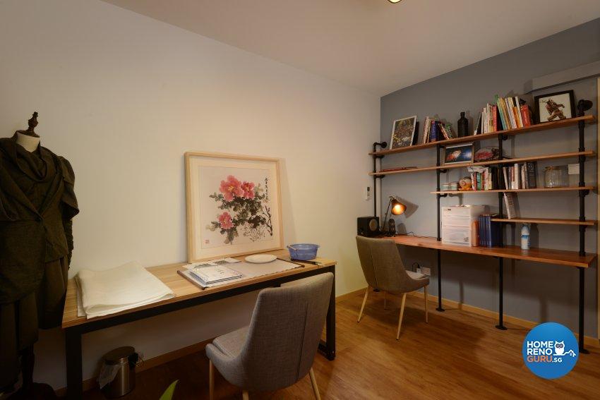 Industrial Design - Study Room - HDB 4 Room - Design by Cad Associates ID Pte Ltd