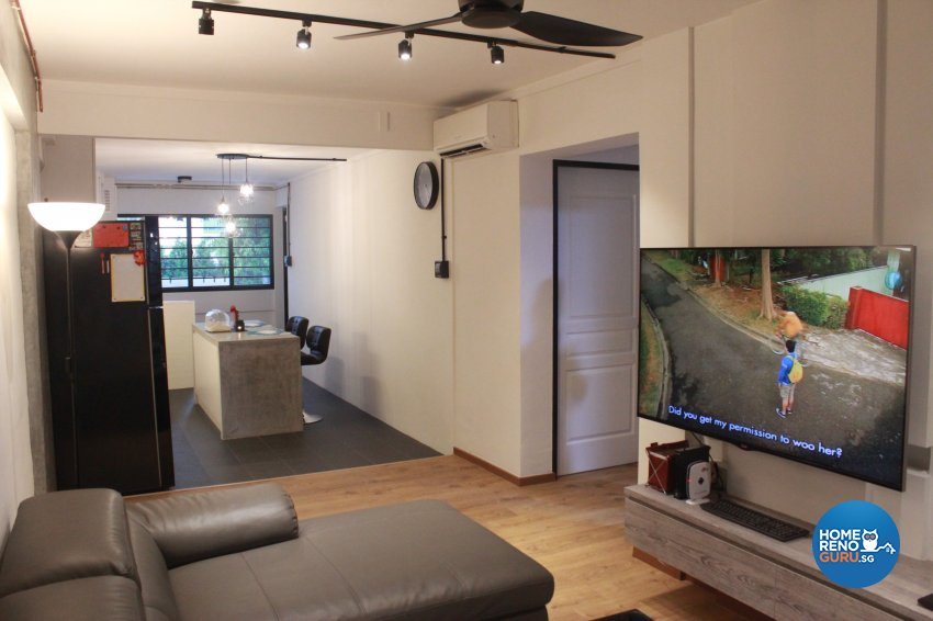 Industrial, Scandinavian Design - Living Room - HDB 3 Room - Design by Cad Associates ID Pte Ltd