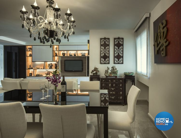 Classical, Modern Design - Dining Room - HDB 5 Room - Design by Calybur Interior Design Pte Ltd