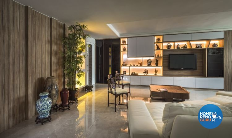 Classical, Modern Design - Living Room - HDB 5 Room - Design by Calybur Interior Design Pte Ltd