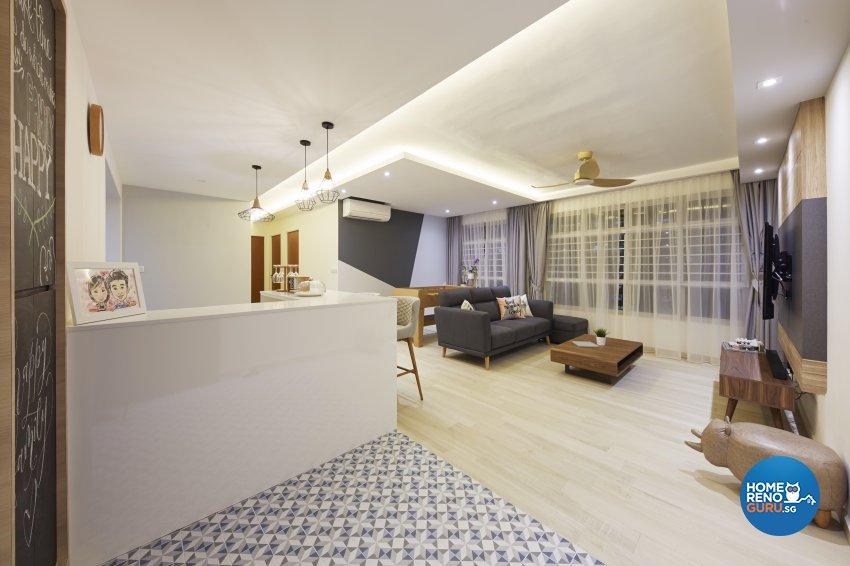 Modern, Rustic, Scandinavian Design - Living Room - HDB 4 Room - Design by Carpenters 匠