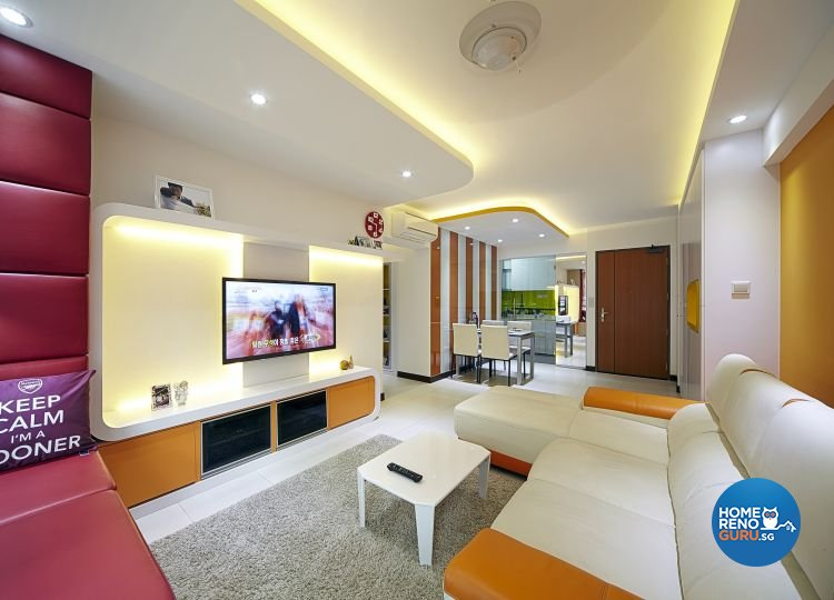 Modern, Retro Design - Living Room - HDB 5 Room - Design by Carpenters 匠