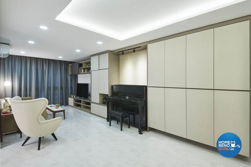 Contemporary, Minimalist, Modern Design - Living Room - HDB 5 Room - Design by Carpenters 匠