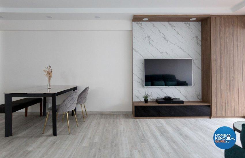 Minimalist, Modern Design - Living Room - HDB 5 Room - Design by Carpenters 匠