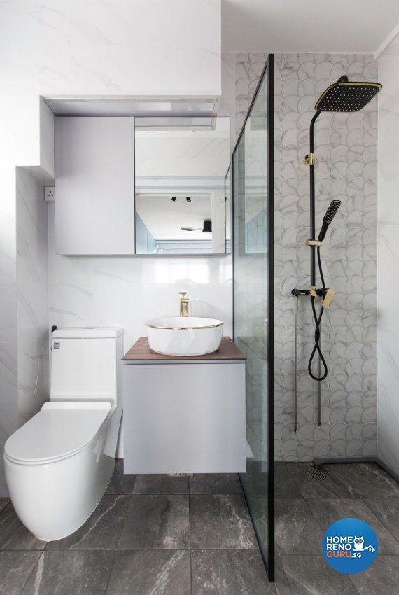 Minimalist, Modern Design - Bathroom - HDB 5 Room - Design by Carpenters 匠