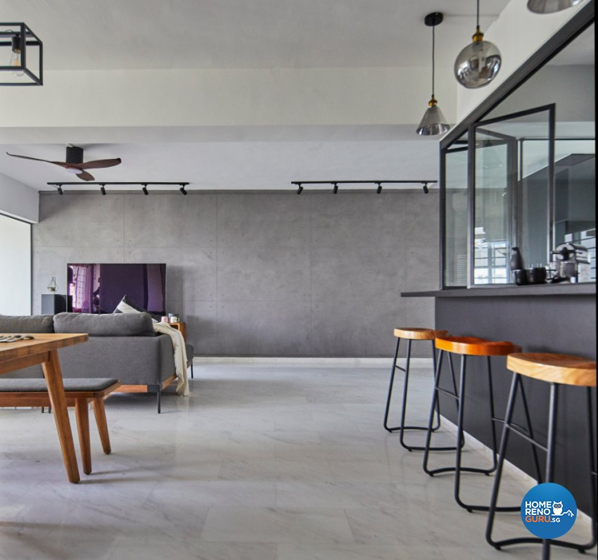 Industrial Design - Living Room - HDB Executive Apartment - Design by Carpenters 匠