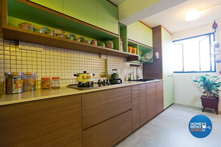 Modern, Retro Design - Kitchen - HDB 3 Room - Design by Chapter B Pte Ltd