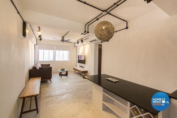 Industrial, Modern Design - Living Room - HDB 3 Room - Design by Chapter B Pte Ltd