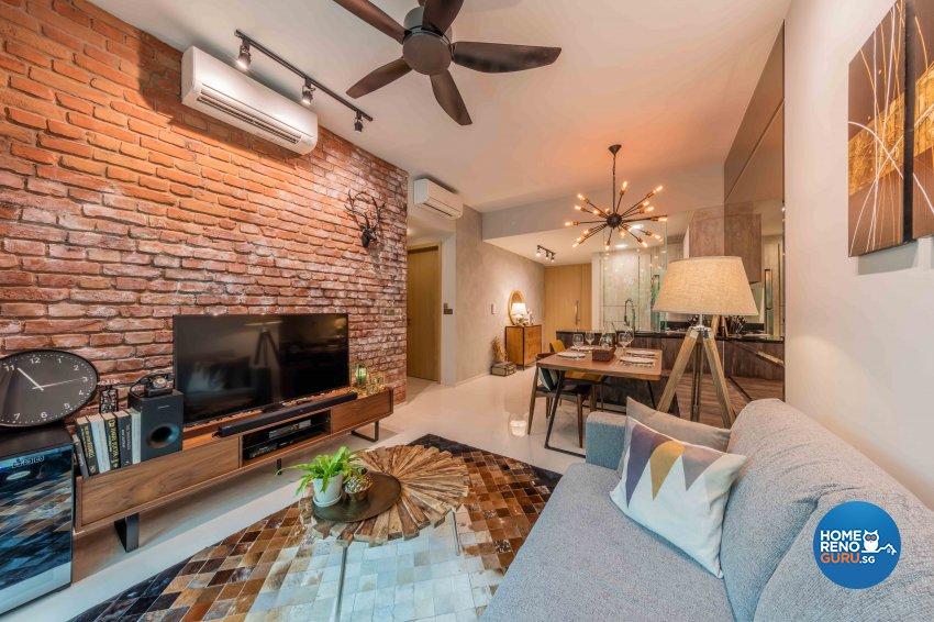 Industrial, Rustic, Scandinavian Design - Living Room - Condominium - Design by Ciseern by designer furnishings Pte Ltd