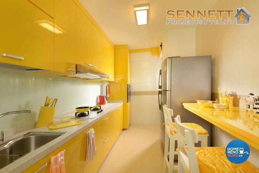 Mediterranean Design - Kitchen - HDB 4 Room - Design by Sennett Projects Pte Ltd