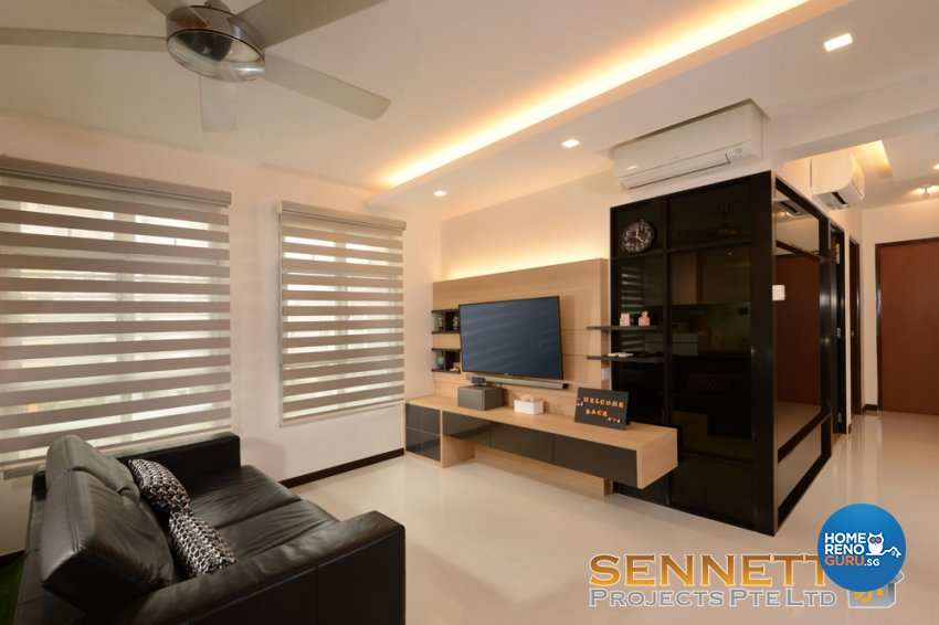 Contemporary Design - Living Room - HDB 5 Room - Design by Sennett Projects Pte Ltd