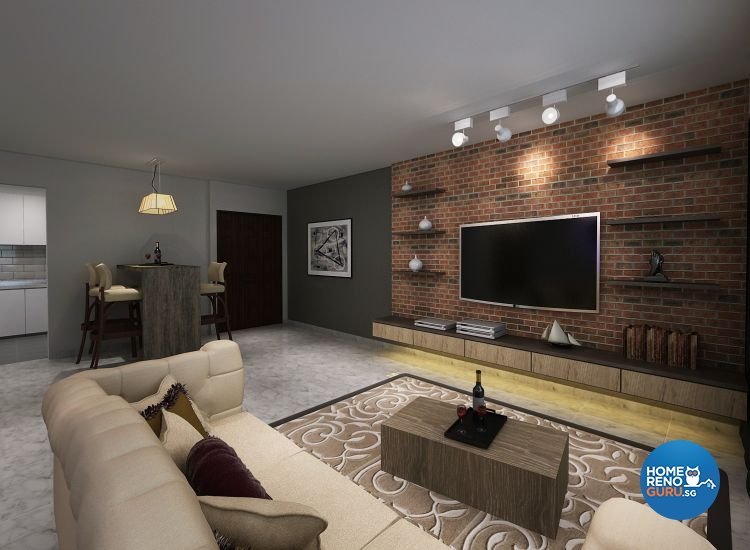 Contemporary, Industrial, Modern Design - Living Room - HDB 4 Room - Design by Cosy Living Pte Ltd
