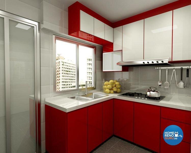 Modern, Retro Design - Kitchen - HDB 3 Room - Design by Cosy Living Pte Ltd