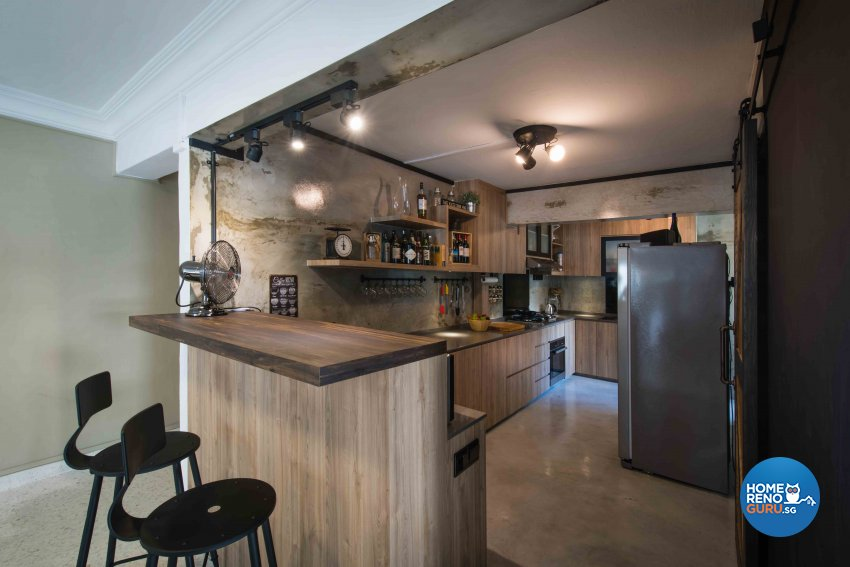 Industrial Design - Kitchen - HDB 5 Room - Design by Cozy Ideas Interior Design Pte Ltd