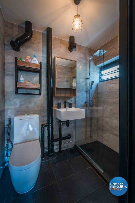 Industrial Design - Bathroom - HDB 5 Room - Design by Cozy Ideas Interior Design Pte Ltd