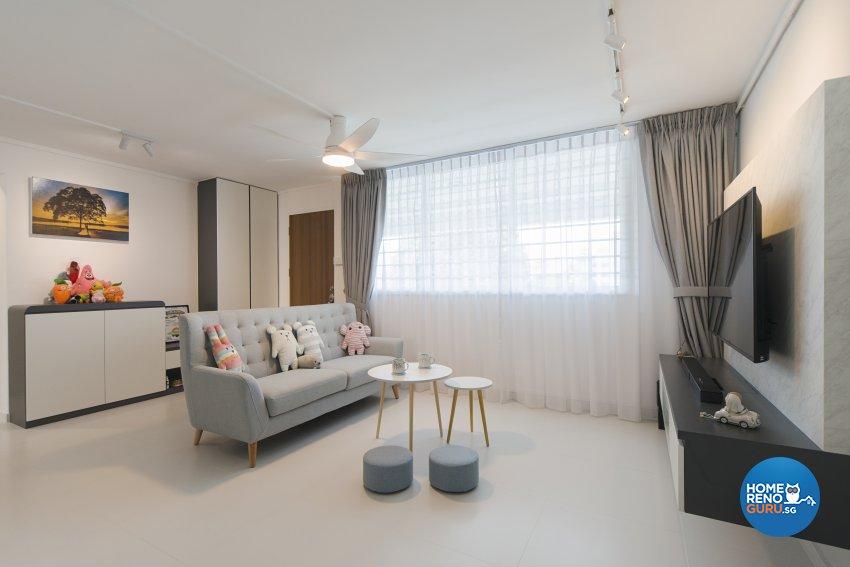 Minimalist, Scandinavian Design - Living Room - HDB 5 Room - Design by Cozy Ideas Interior Design Pte Ltd