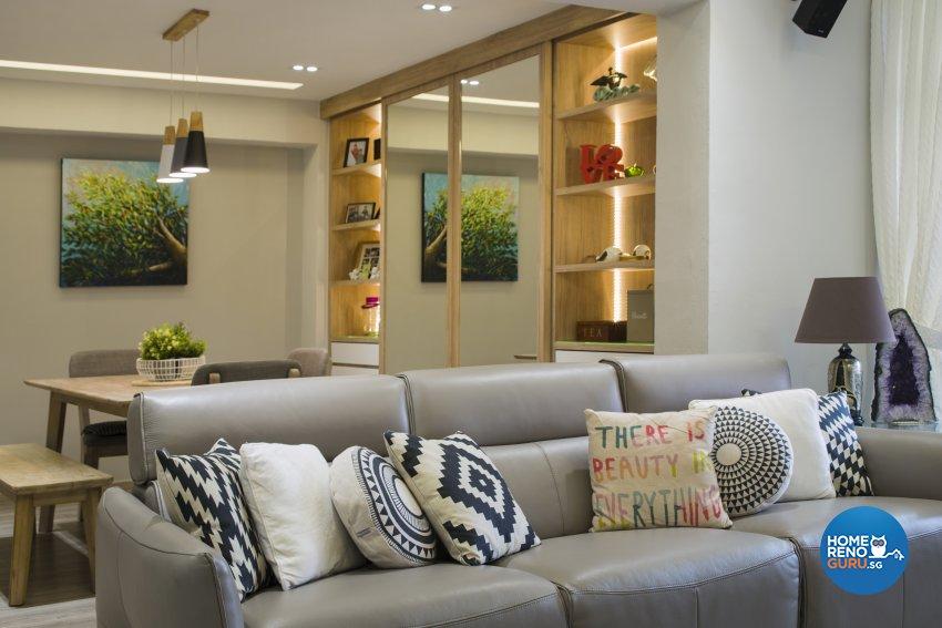 Modern, Scandinavian, Tropical Design - Living Room - HDB Executive Apartment - Design by Cozy Ideas Interior Design Pte Ltd