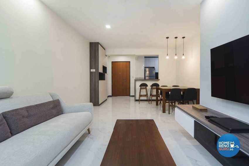 Minimalist, Modern Design - Living Room - HDB 4 Room - Design by Cozy Ideas Interior Design Pte Ltd