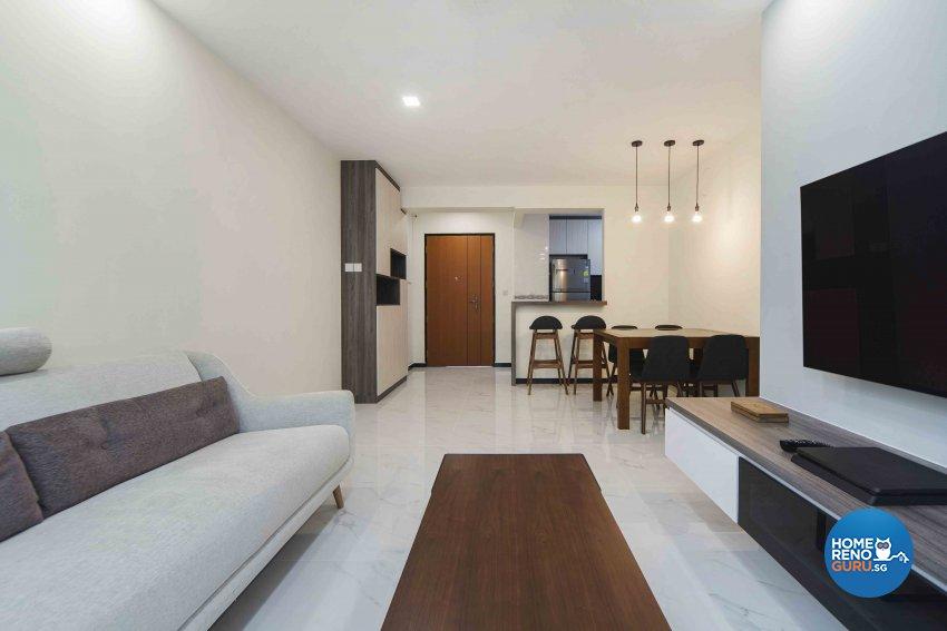 Minimalist, Modern Design - Living Room - HDB 4 Room - Design by Cozy Ideas Interior Design Pte Ltd