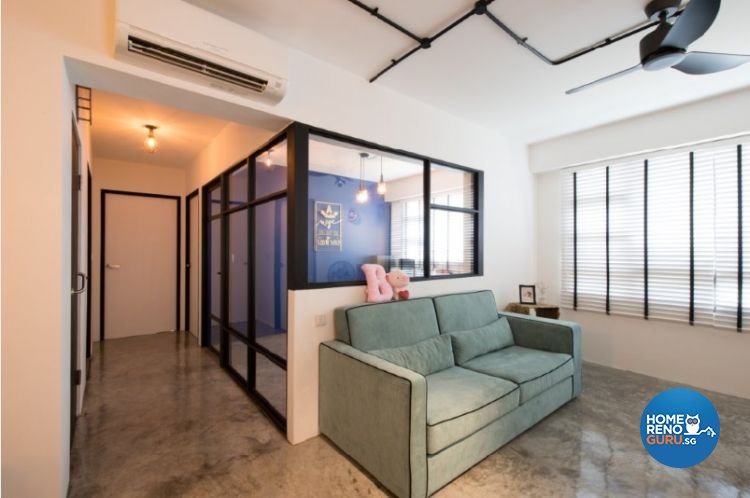 Contemporary, Industrial, Modern Design - Living Room - HDB 4 Room - Design by Crescendo Interior & Lifestyle Pte Ltd