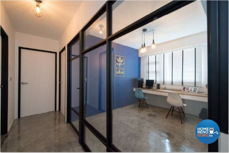 Contemporary, Industrial, Modern Design - Study Room - HDB 4 Room - Design by Crescendo Interior & Lifestyle Pte Ltd