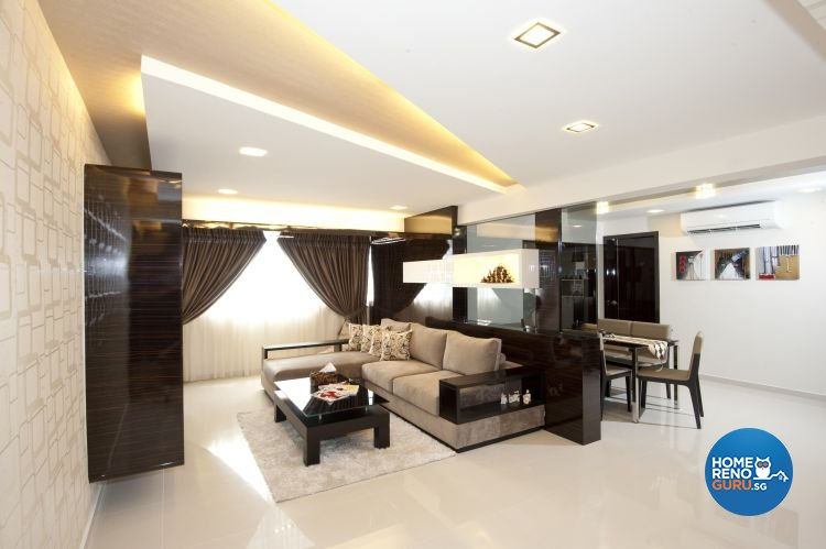 Minimalist, Modern Design - Living Room - HDB 5 Room - Design by Crescendo Interior & Lifestyle Pte Ltd