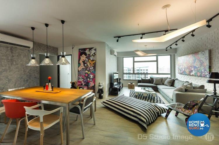 Industrial Design - Dining Room - HDB 5 Room - Design by D5 Studio Image Pte Ltd