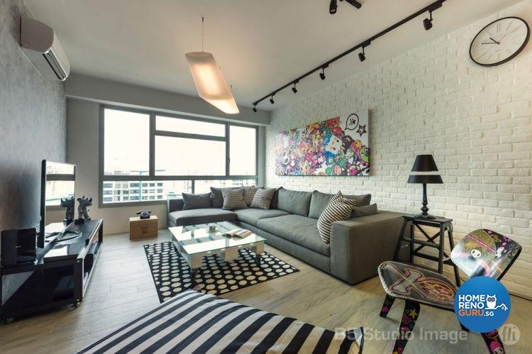 Industrial Design - Living Room - HDB 5 Room - Design by D5 Studio Image Pte Ltd