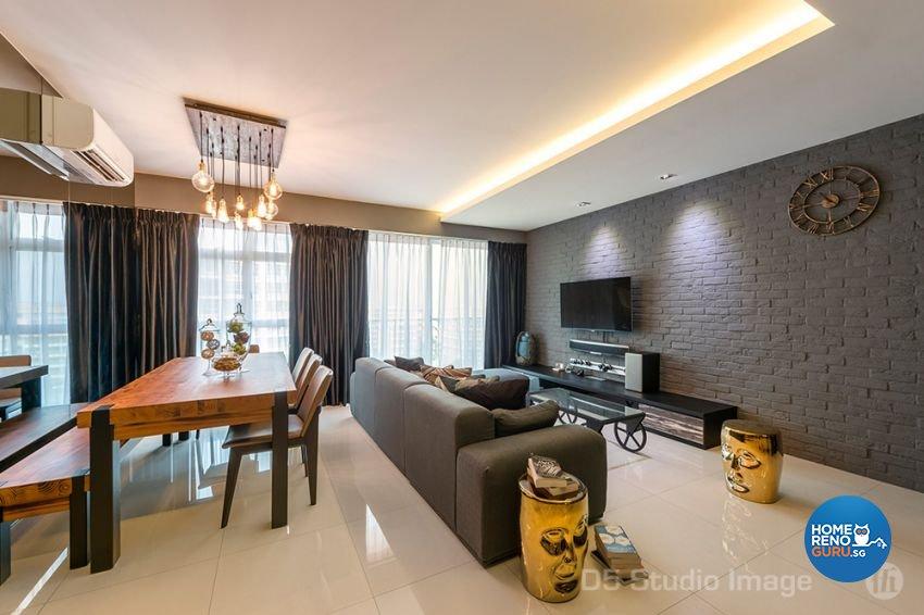 Eclectic Design - Living Room - HDB 5 Room - Design by D5 Studio Image Pte Ltd