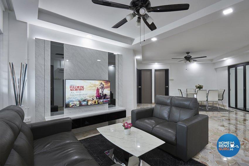 Modern Design - Living Room - HDB 4 Room - Design by DB Studio Pte Ltd