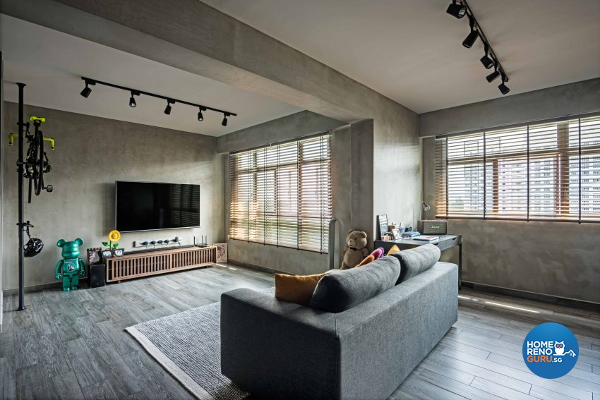 Industrial Design - Living Room - HDB 4 Room - Design by DB Studio Pte Ltd