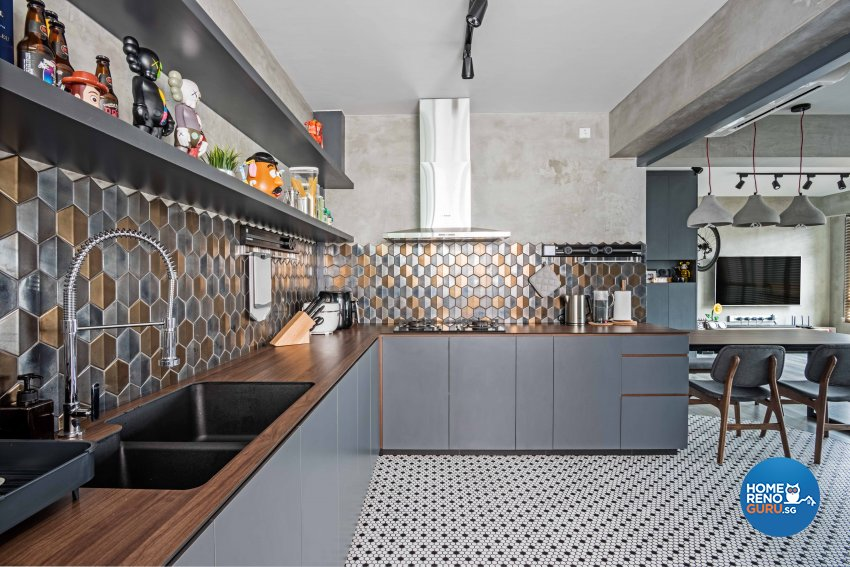 Industrial Design - Kitchen - HDB 4 Room - Design by DB Studio Pte Ltd
