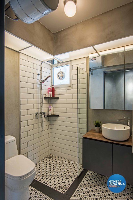 Industrial Design - Bathroom - HDB 4 Room - Design by DB Studio Pte Ltd