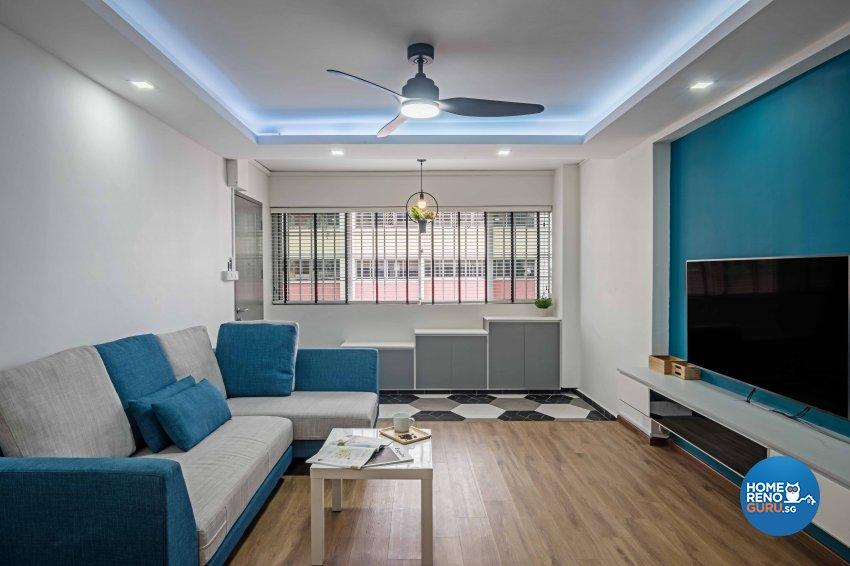 Country, Modern Design - Living Room - HDB 5 Room - Design by DB Studio Pte Ltd