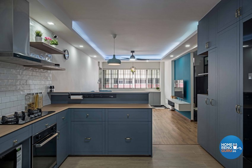 Country, Modern Design - Kitchen - HDB 5 Room - Design by DB Studio Pte Ltd
