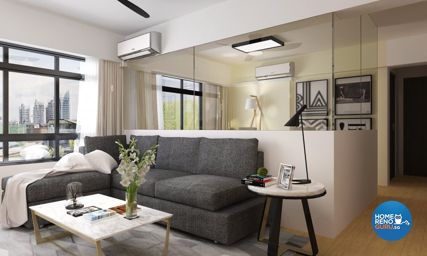 Contemporary, Modern Design - Living Room - HDB 4 Room - Design by D'Brain Studio