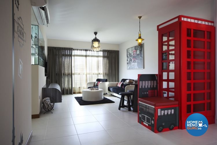 Contemporary, Retro Design - Living Room - HDB 4 Room - Design by De Exclusive Interior Group Pte Ltd