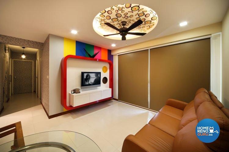 Contemporary, Retro Design - Living Room - HDB 4 Room - Design by De Exclusive Interior Group Pte Ltd