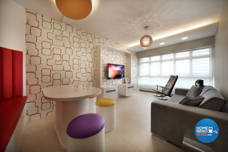 Minimalist, Retro Design - Living Room - HDB 4 Room - Design by De Exclusive Interior Group Pte Ltd